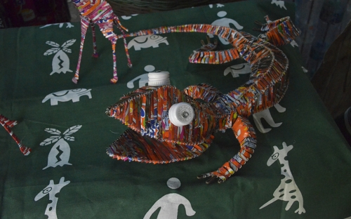 Animals artifacts made from recycled cans