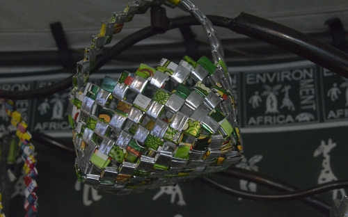 Handbag made from packets of Things, Cheesies etc