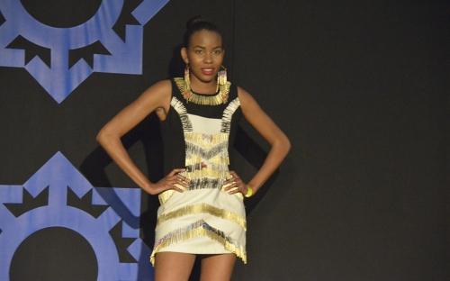 Model showcase clothes accessories from local Zimbabwean designers