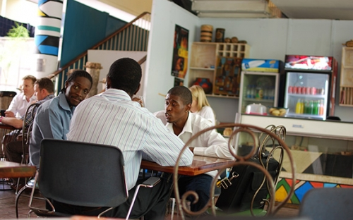 Leornard Mapfumo and Sanii Makalima relax in the Gallery cafe