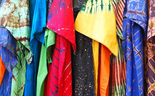 Vibrant coloured fabrics at the Global Quarter