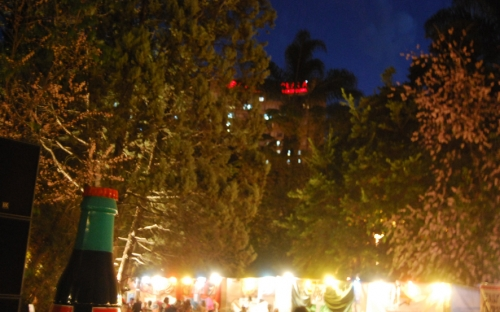 Food stalls in the Coca Cola Green at night