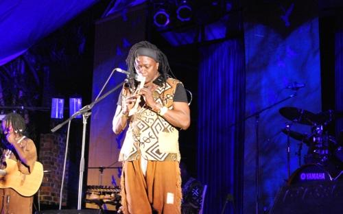Habib Koité plays a flute at HIFA