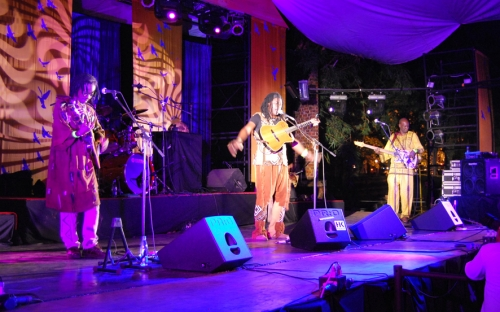 Habib Koité on stage with his band at HIFA