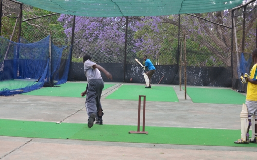 Students from Mutare Polytechnic practising in the nets