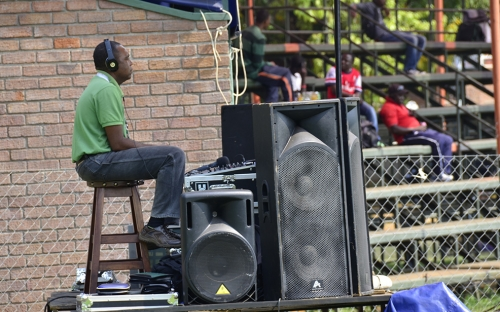 DJ McKenzie the behind the decks and announcements on the PA system.