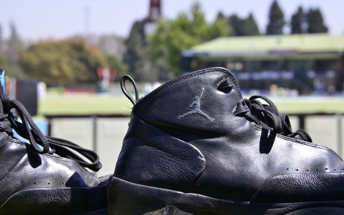 Michael Jordan in Zimbabwe at the cricket, sort of, kicked off my shoes to really relax.