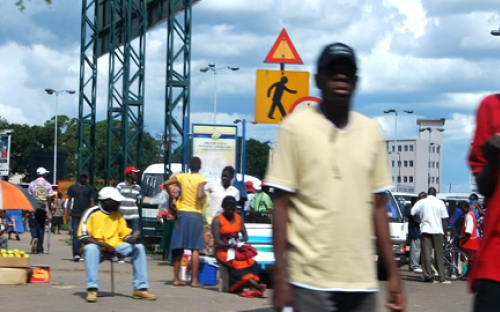 Pedestrians at 4th Strreet Bus terminus in Harare, Zimbabwe