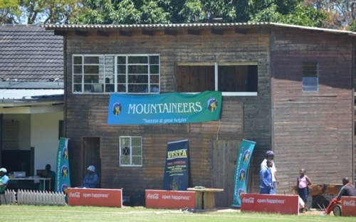The scorers cabin with a big Mountaineers banner