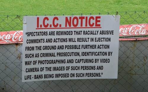 ICC Notice about behaviour at the ground