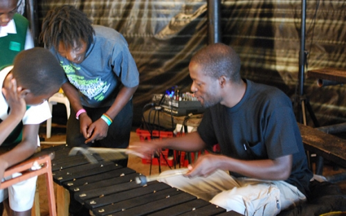 Nyasha Mupaso of Mushtella Mushrooms has his turn on the marimba