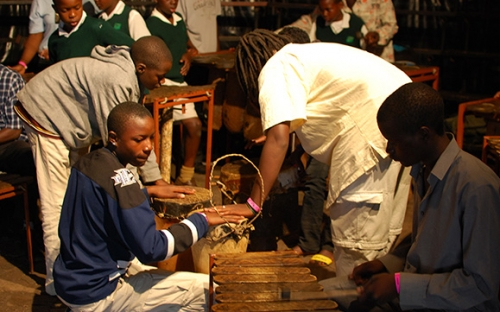 Children have a go at the marimba workshop