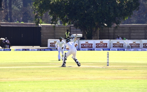 Younis Khan prepares to play a shot on his way to 200.