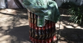 Bin made from recycled cans
