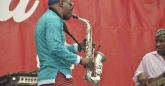 Composer Ivan Mazuze on the saxophone