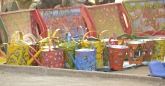 Playfully painted buckets