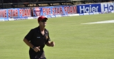 Grant Flower taking laps around the field at lunch and after the game on all three days that I was at the ground. Staying fit I guess.
