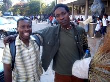 Baynham Goredema with Victor Nyajeka, fashion designer