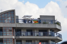 NZ and Zim Supporters on top of the Northcliffe Heights condos. Prime residential flats on the outskirts of the Avenues, Harare's red light district.
