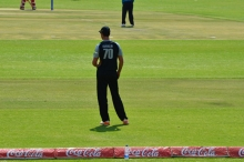 James Franklin standing at the Boundary which was pushed in by about 10 metres!