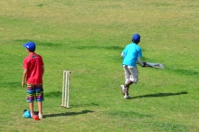Kids playing Electric Wicket! Played with one batsmen and when you run you can stump either wicket so long as you out of your crease you will be out!