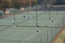 Glanced behind Castle Corner and found some guys training in the tennis courts