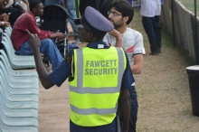 Security warns and chases vendors away from the VIP section