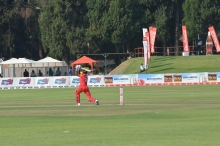 Vusi attempts a cover drive