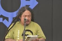 Saut Situmorang recites a poem at HIFA, Zimbabwe