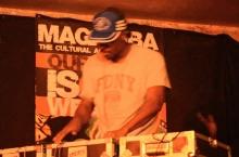 DJ Marv Studd on the decks at Shoko Poetry Slam Express