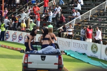 And while they were not dancing the chicks were throwing helmets to fans from the back of a bakkie