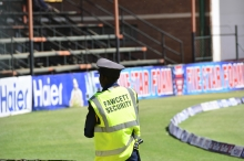 The pitch security seem more concerned about guarding the pitch and not enforcing the ICC rules on unruly supporters.