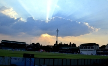A beautiful sunset to wind down a good day of test cricket.